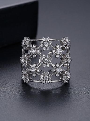 Platinum t18i11 Copper Cubic Zirconia Flower Luxury Band Ring