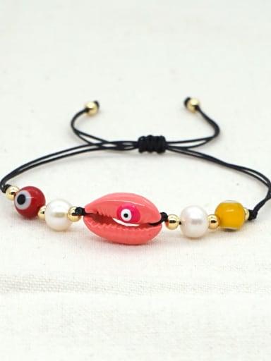 B B200052C Stainless steel Freshwater Pearl Multi Color Irregular Bohemia Adjustable Bracelet