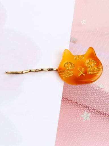 Amber Alloy Cellulose Acetate Cute Cat  Hair Pin
