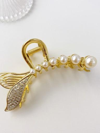 Pearl water drill fish tail 10cm Alloy Imitation Pearl Minimalist Fish  Tail Jaw Hair Claw