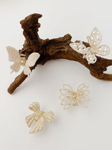 Alloy Imitation Pearl Minimalist Butterfly Jaw Hair Claw