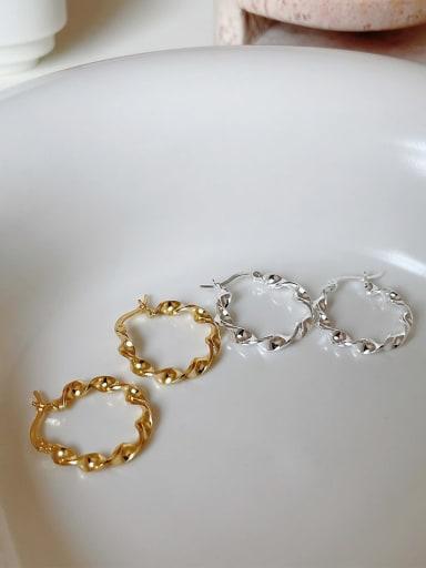 925 Sterling Silver Irregular Water Ripple  Minimalist Hoop Earring