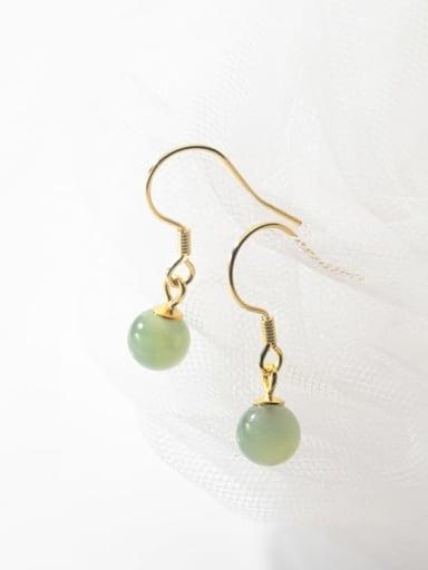 925 Sterling Silver Bead Round Minimalist Hook Earring