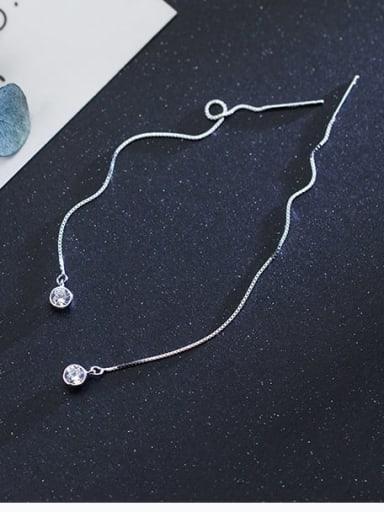 925 Sterling Silver Rhinestone Tassel Minimalist Threader Earring