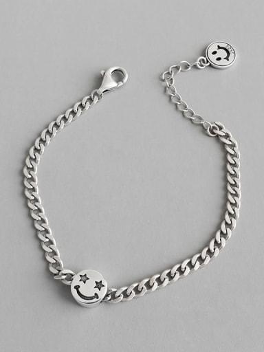 925 Sterling Silver  Retro smiley five-pointed star Link Bracelet