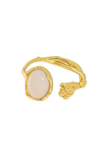Gold [14 adjustable] 925 Sterling Silver Agate Irregular Vintage Band Ring