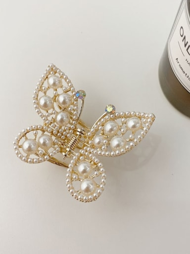 Butterfly Pearl 4.2cm Alloy Imitation Pearl Minimalist Butterfly Jaw Hair Claw