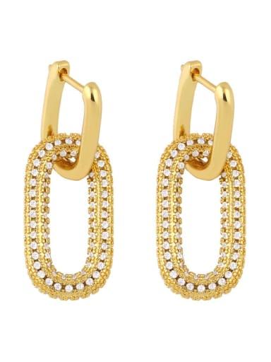 Eru13 white Brass Cubic Zirconia Geometric Vintage Cluster Earring