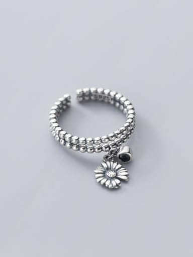 925 Sterling Silver Bead Flower Vintage Band Ring