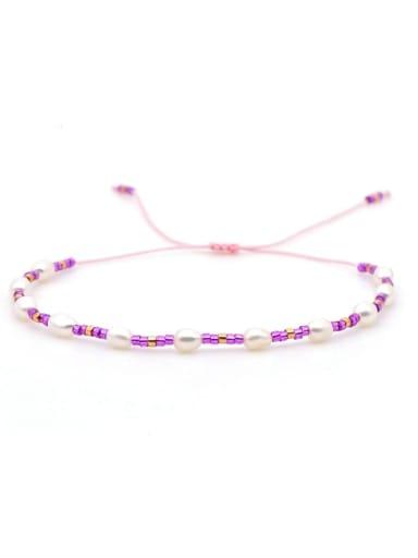 ZZ B200030D Stainless steel Freshwater Pearl Multi Color Geometric Minimalist Woven Bracelet