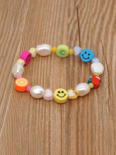 Freshwater Pearl Multi Color Smiley Bohemia Stretch Bracelet