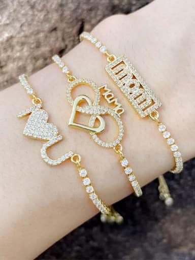 Brass Cubic Zirconia Letter Hip Hop Adjustable Bracelet