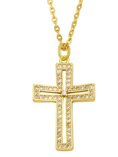 Brass Cubic Zirconia Cross Ethnic Regligious Necklace
