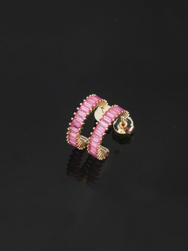 Corundum Brass Cubic Zirconia Geometric Dainty Stud Earring