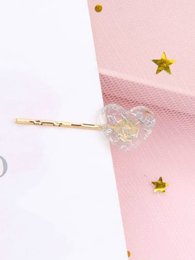 Love and colorful grey Alloy Cellulose Acetate Minimalist Heart Hair Pin