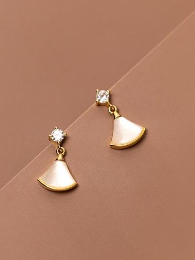 925 Sterling Silver Cats Eye Triangle Minimalist Drop Earring
