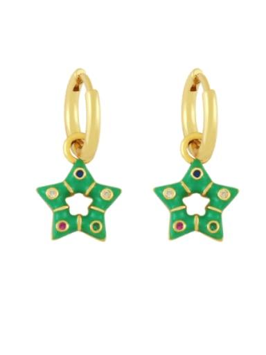 green Brass Multi Color Enamel Star Vintage Huggie Earring