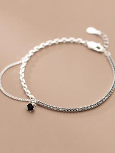 925 Sterling Silver Cubic Zirconia Geometric Vintage Strand Bracelet