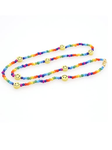 Stainless steel Bead Multi Color Smiley Bohemia Hand-woven Necklace