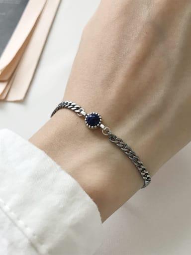 925 Sterling Silver Blue Turquoise Link Bracelet