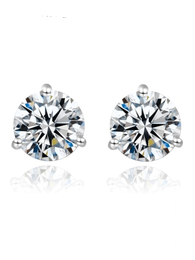 925 Sterling Silver Moissanite Round Dainty Stud Earring