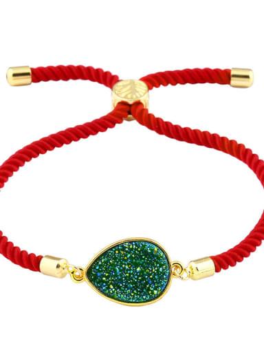 Red rope color green Leather Geometric Minimalist Adjustable Bracelet