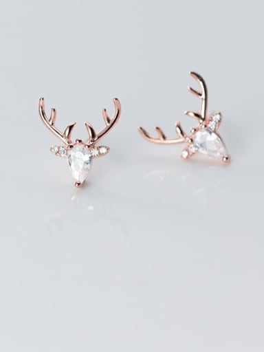 925 Sterling Silver Cubic Zirconia Deer Minimalist Stud Earring