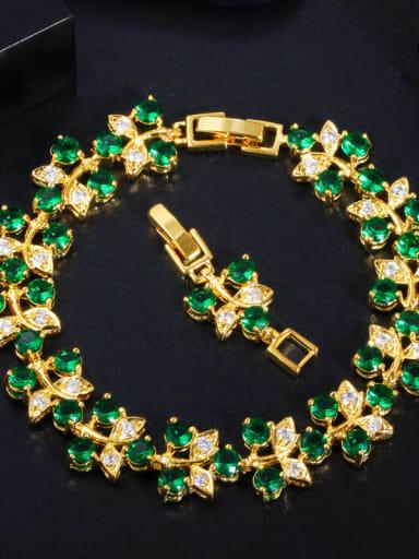 green Copper Cubic Zirconia Leaf Luxury Bracelet