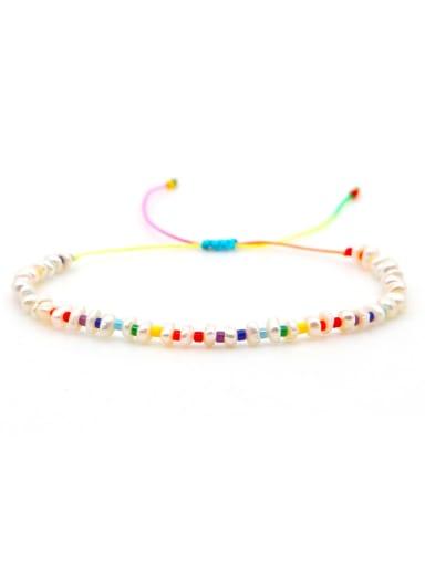 Stainless steel Freshwater Pearl Multi Color Geometric Minimalist Woven Bracelet