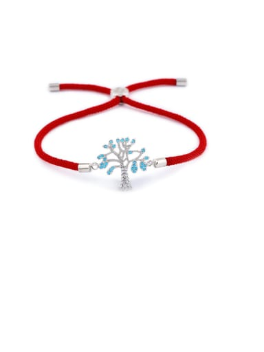Red rope Silver Brass Cubic Zirconia Tree Minimalist Adjustable Bracelet