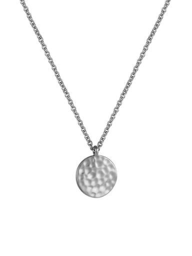 Platinum hammered Round Coin Necklace Brass Rhinestone Geometric Minimalist Necklace