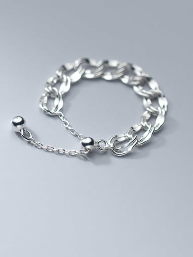 925 Sterling Silver Hollow Geometric Chain Minimalist Band Ring