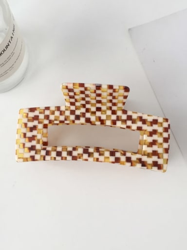 F134 Cellulose Acetate Minimalist Large and medium Checkered Coffee color hollow  Alloy Jaw Hair Claw