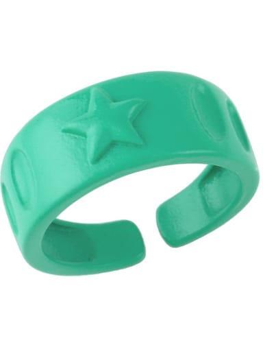 green Brass Enamel Star Hip Hop Band Ring