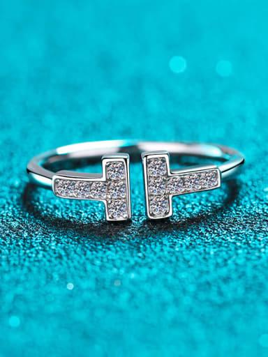 Sterling Silver Moissanite White Double T Split Engagement Rings