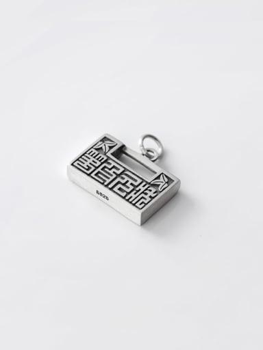 925 Sterling Silver Vintage Geometric  Pendant