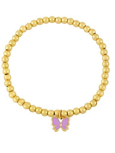 violet Brass Enamel Butterfly Minimalist Beaded Bracelet