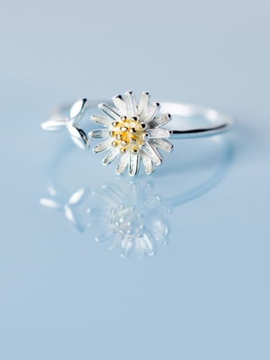 925 Sterling Silver Flower Minimalist Band Ring