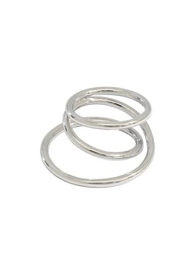 Platinum 925 Sterling Silver Irregular Vintage Stackable Ring