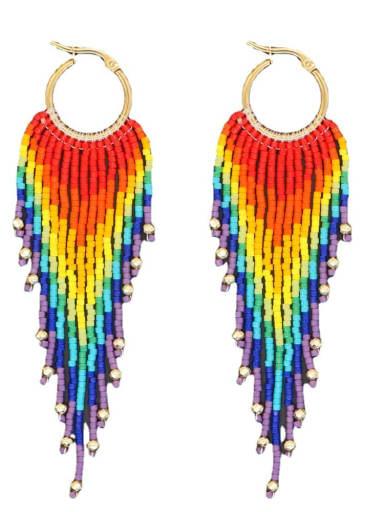 Zinc Alloy Multi Color miyuki Bead Tassel   Bohemia   Hand-Woven Earring