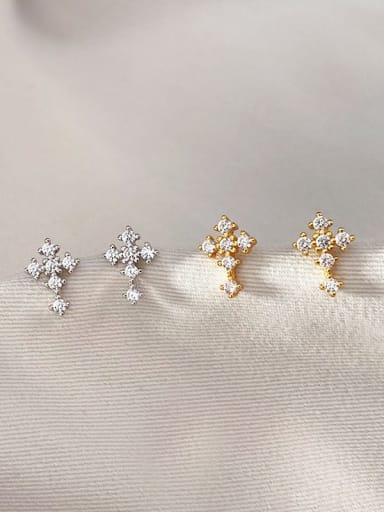 925 Sterling Silver Cubic Zirconia Cross Minimalist Stud Earring