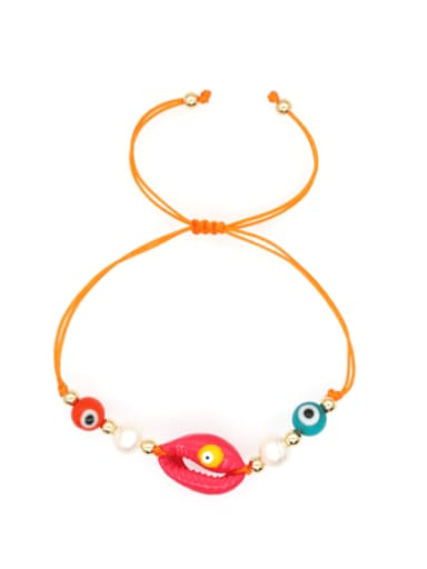 B B200052B Stainless steel Freshwater Pearl Multi Color Mouth Bohemia Woven Bracelet