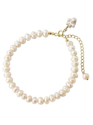 925 Sterling Silver Freshwater Pearl Round Minimalist Beaded Bracelet