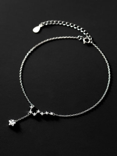 925 Sterling Silver Cubic Zirconia Star Minimalist  Anklet