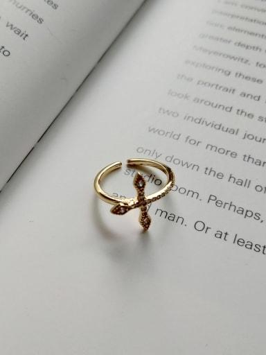 Micro set cross ring J 750 925 Sterling Silver Cubic Zirconia  Cross Minimalist Midi Ring