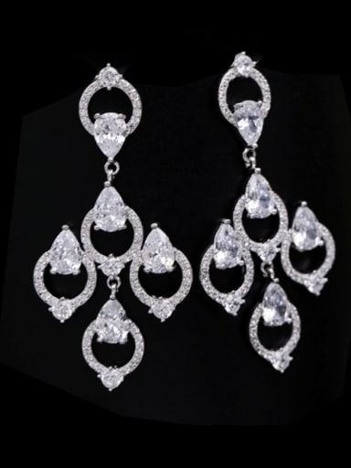 white Brass Cubic Zirconia Geometric Luxury Drop Earring