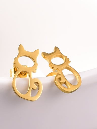 Titanium Steel Cat Cute Stud Earring