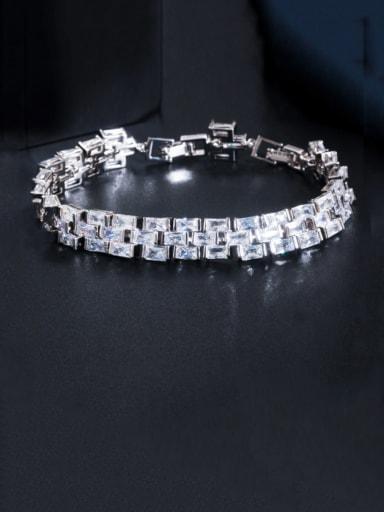 platinum Copper Cubic Zirconia Geometric Luxury Bracelet