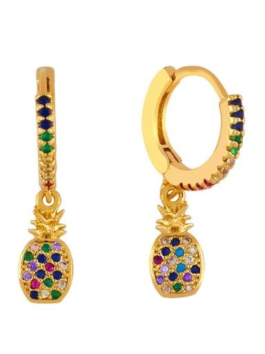 pineapple Brass Cubic Zirconia Friut Bohemia Huggie Earring