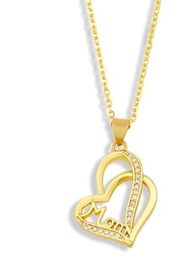 B Brass Cubic ZirconiaMinimalist  Letter Heart Pendant Necklace